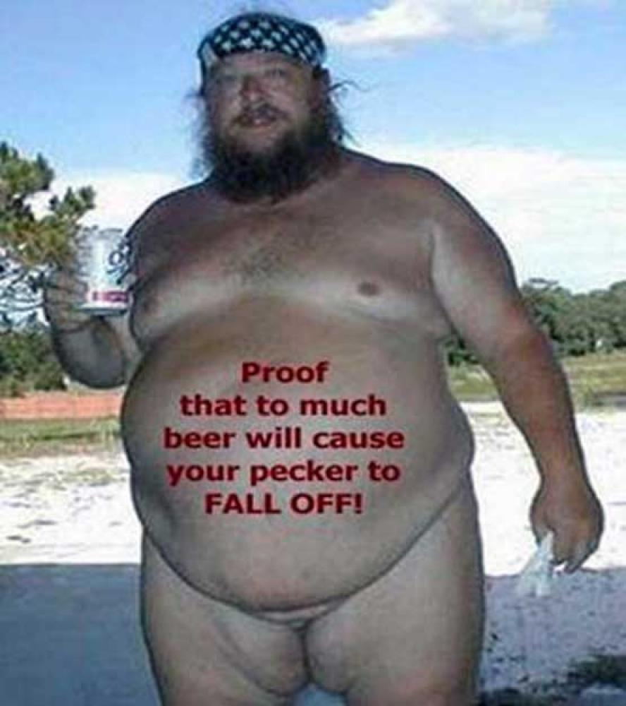 A beer warning showing proof that your pecker will fall off after having too much beer