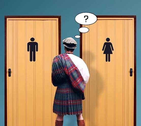 Confused Scots man at the loo