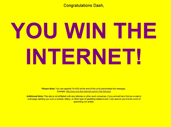 Congratulation - you have won