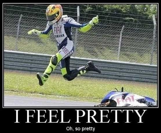 I feel pretty says the rider fling through the air