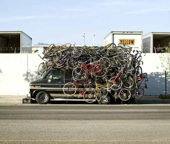 Safety at Work - overloaded van of bikes