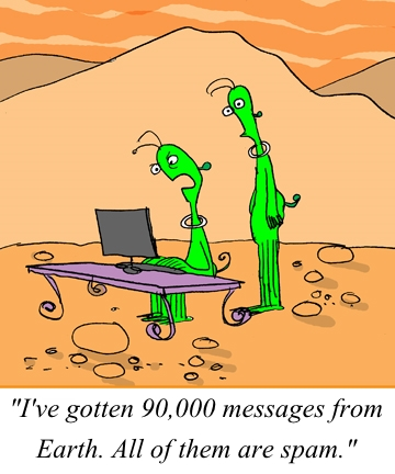 Spam from Earth, 90,000 messages